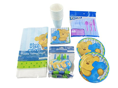 Baby Boy's First Birthday Party Table Settings Bundle - 1 Table Cover, 12 Cups, 16 Plates, 16 Napkins, 16 Spoons, 16 Forks, 16 Knives, 8 Blow Out Noise Makers