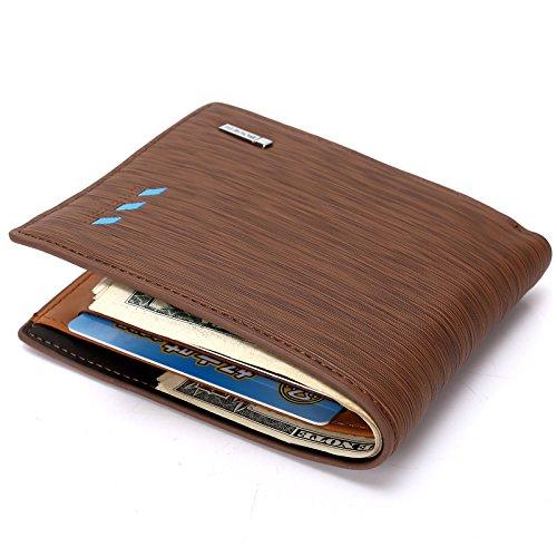 Cdet 1Pcs PU Leder Kreative Geldbörse Mode Herrn Brieftasche Schlüsselinhabers Kurze Geldbörse Multi-Funktion Kreditkarte Koffer,10*12*1.5CM,Khaki Blue