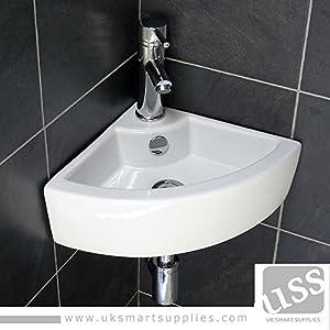 Good Stylish And Modern Corner Small Hand Wash Cloakroom Basin/Sink  1 Tap Hole