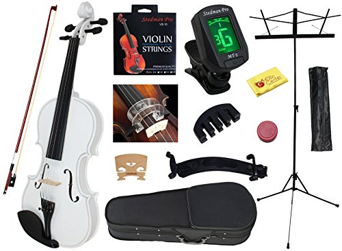 YMC 4/4 Full Size Handcrafted Solid Wood Student Violin Starter Kits (with Hard Case, Bow, Music Stand, Electronic Tuner, Bow Collimator, Shoulder Rest, Mute, Extra Strings, Polish Cloth, Rosin) ()