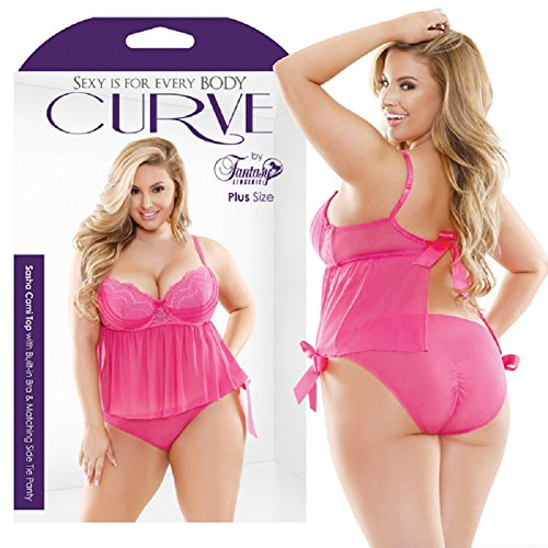 Fantasy Lingerie Curve Sasha Cami Top with Built-in Bra & Matching Side Tie Panty with Free Bottle of Adult Toy Cleaner (3X/4X)