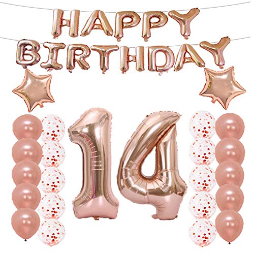 14th Birthday Decorations Party Supplies,14th Birthday Balloons Rose Gold,Number 14 Mylar Balloon,Latex Balloon Decoration,Great Sweet 14th Birthday Gifts for Girls,Photo Props]()