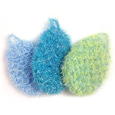 BubbleMe Dish Scrubbers (3-Pack): Lasts Longer Than 7+ Kitchen Sponges : The Perfect Cleanup Scrubber For All Cleaning Scrubber / Dish Sponge Purposes : Ultra Durable and Sanitary Scrub