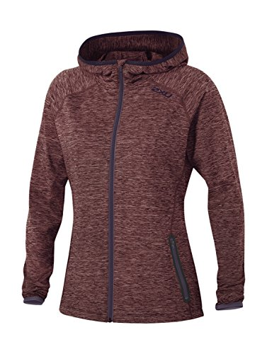 2XU Women's Movement Form Hoodie, Carbon Purple/Mars Red, Small