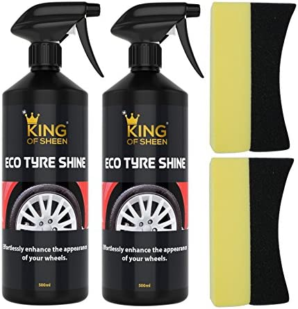 King Of Sheen Eco Tyre Shine 2 X Reifenpflege Und 2 X Applikatorschwamm Verbessern Sie Mühelos Das Aussehen Ihrer Reifen Doppelpack Flaschen Mit Je 500 Ml Auto