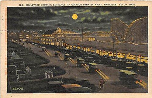 Nantasket Beach, Massachusetts, MA, USA Postcard Boulevard showing Entrance to Paragon Park 1937