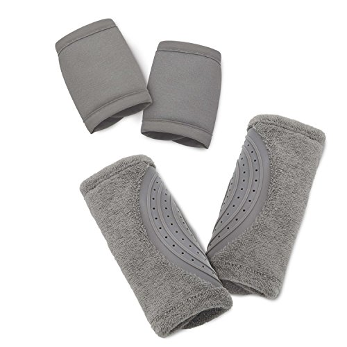 Travel Bug Baby 2 Piece Car Seat Strap Cover Teether Set, Light Grey