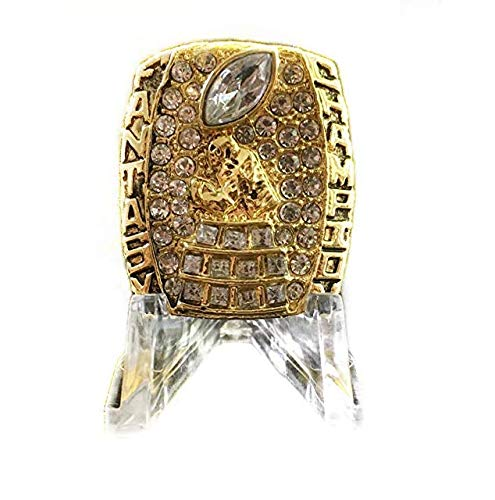 Legacy Rings 2018 Fantasy Football Championship Ring Trophy with Acrylic Display Stand Heavy Solid Prize Award Gold Plated FFL League Winner Size 10-14 (Gold, 14) (Best Prize Fantasy Football Leagues)