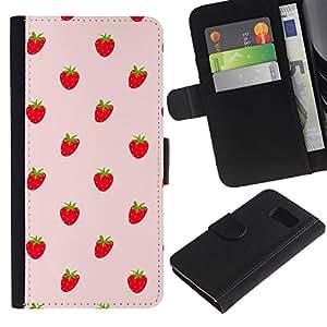 Paccase / Billetera de Cuero Caso del tirón Titular de la tarjeta Carcasa Funda para - Strawberries Red Berries Wallpaper Fresh Food - Samsung Galaxy S6 SM-G920