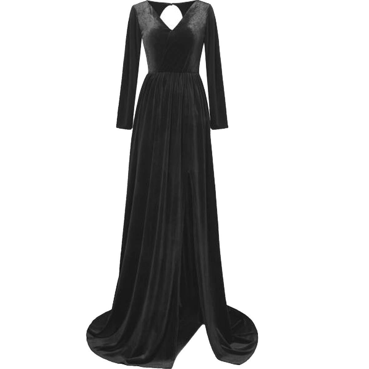 Black TTYbridal VNeck Court Train Velvet Evening Dresses Backless Long Prom Cocktail Gown with Split Side V16