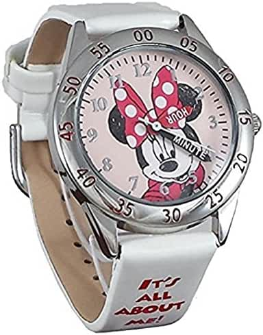 Disney Girl's MN1328 Minnie Mouse Time Teacher Stainless Steel Watch with White Leather Band