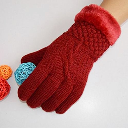 [1-Pc (1-Pair) Extreme Chic Hot Women's Mittens Warm Gloves Thermal Decor Outdoor Windproof Girls Warmer Colors Red] (Billiard Girl Costume)