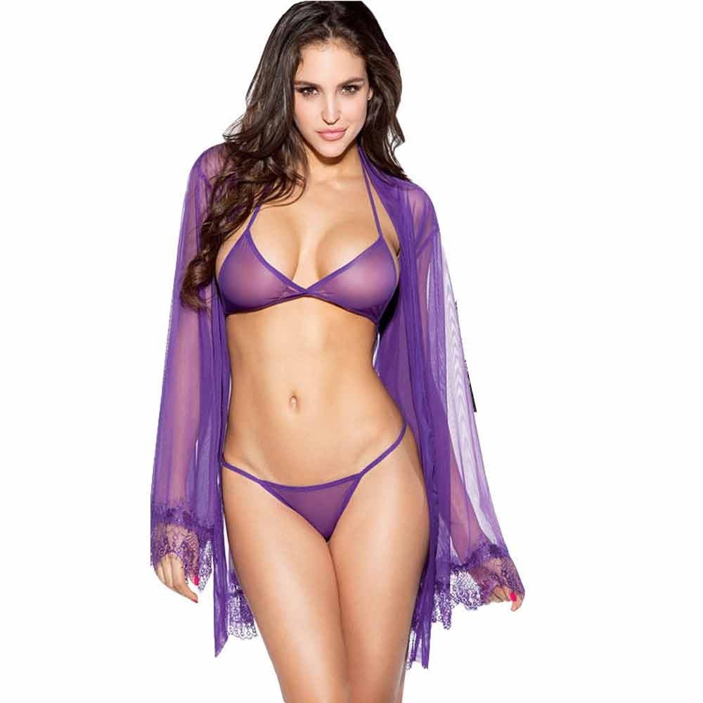 Gibobby Sexy Lingerie for Women Babydoll Underwear Sleepwear Perspective Lace Set Solid Bathrobe Nightwear+G-String Purple