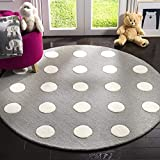 Safavieh Kids Collection SFK904C Handmade Grey and Ivory Polka Dot Wool Round Area Rug (5′ in Diameter) Review