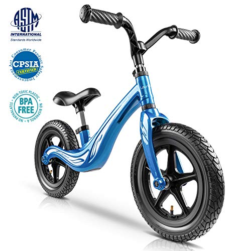 Lauraland Magnesium Alloy Balance Bike, Racing style, 12″ Push Bike with Rubber Pneumatic Tires for Ages 18 Months to 5 Years, The First Bike in Life, The Best Birthday Gift, Blue