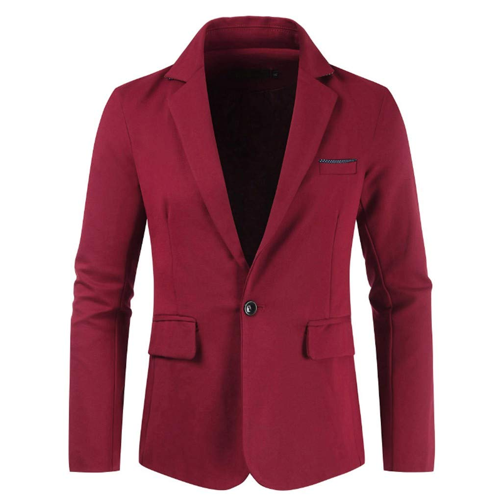 Men's Long Sleeve Business Suit,Clearance!! Males Slim Fit One Button Pockets Solid Body-Building Coat Tops Outwear by cobcob men's Coat