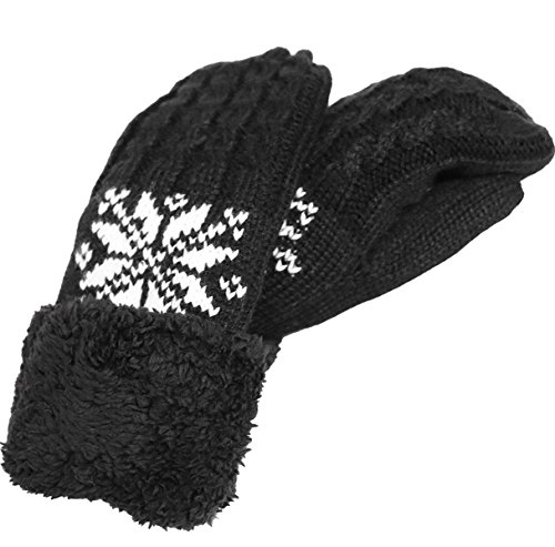 KMystic Plush Lined Cuffed Winter Knit Mittens (Black Snowflake)