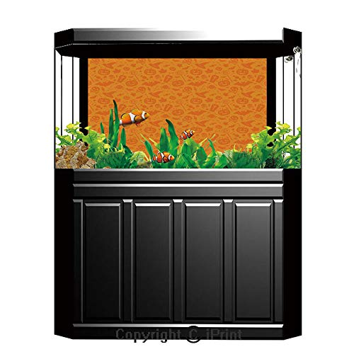 Terrarium Fish Tank Background,Halloween Decorations,Monochrome Design with Traditional Halloween Themed Various Objects Day,Orange,Photography Backdrop for Pictures Party -