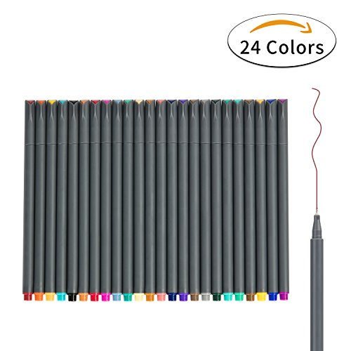 Fineliner Color Pens Set, 0.38mm Fine Tip Pens, Porous Fine Point Makers Drawing Pen, Perfect for Writing in Bullet Journal and Planner, 24 Assorted Colors from (Ball Marker Pen)