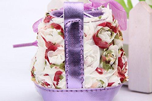 Yue Lian Baby Mädchen Schuhe Spitze Rose Deko Lauflernschuhe PU-Leder Bunt Lila