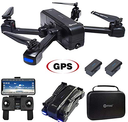 Contixo F22 Plus Foldable GPS 1080P Camera Photography Drone   Selfie, Gesture, Follow Me, Waypoint, Orbit Mode, Gimbal RC WiFi FPV Quadcopter Beginners Drones with Camera for Adults with 2 Batteries