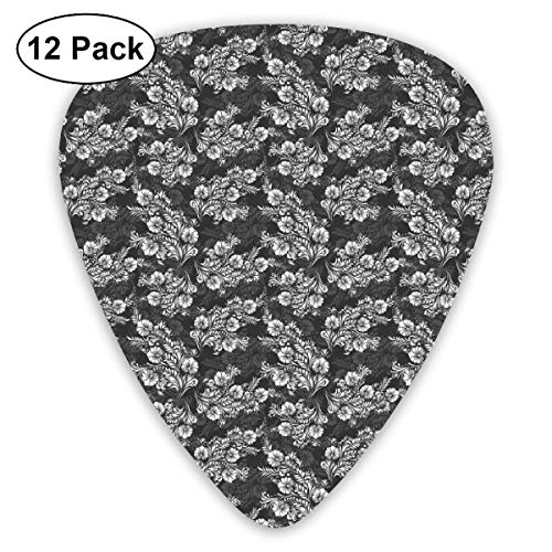 Guitar Picks - Abstract Art Colorful Designs,Blooming Flower Bouquets With Leaves In Contrasting Colors Bridal Composition,Unique Guitar Gift,For Bass Electric & Acoustic Guitars-12 Pack