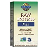 Garden of Life Digestive Enzymes for Men - Raw Enzymes for Digestion, Gut Health, Bloating, 22 Enzymes - Bromelain Papain Lipase - Probiotics, Nattokinase, 90 Capsules, Digestive Enzyme Supplements