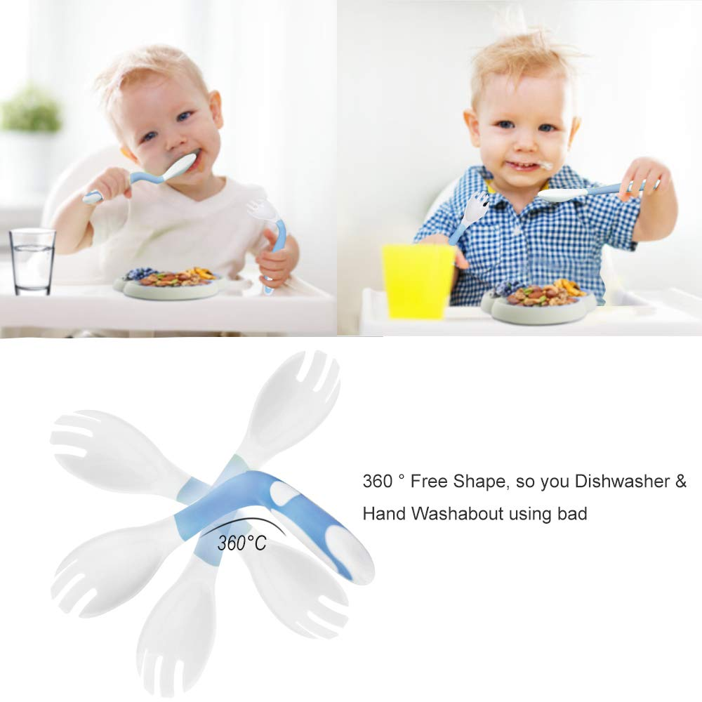 Toddlers and Children Silicone-Divided-Suction-Toddler-Plate Blue SILIVO Silicone Non-Slip Baby Plate with Suction BPA Free Plus Bendable Baby Feeding Spoon and Fork for Kids