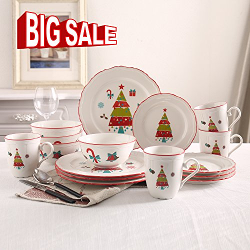 {NEW ARRIVAL}SOLECASA 16-Piece White Porcelain/Ceramic Dinnerware and Serveware in Christmas - Christmas Dishes