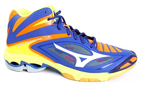 Mizuno Men Wave Lightning Z3 Mid Volleyball Shoes, Bleu/Blanc/Jaune 3 - SurftheWeb/White/OrangeCkwnFi