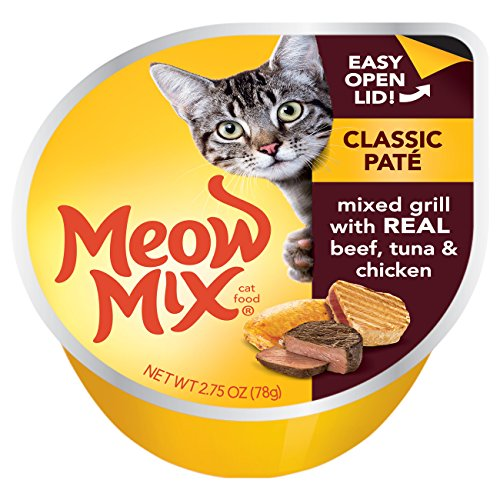 Meow Mix Classic Pate Mixed Grill with Real Beef, Tuna & Chicken Wet Cat Food, 2.75 oz Cups, 12 Count