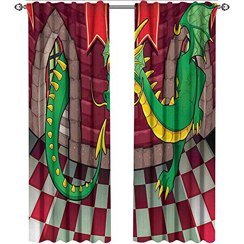 Cartoon, Curtains Insulated Thermal, Video Game Design Inside The Castle with Dragon Fantasy World Medieval Illustration, Curtains Girls Room, W96 x L96 Inch, Ruby Green