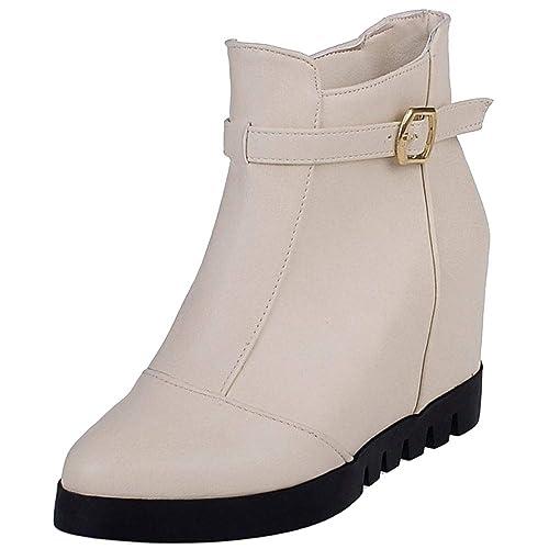 Zanpa Mujer Moda Zapatos de Otoño Tacon de Cuña Botines Botas Cremallera Botas Bajas Tacones Altos Boots Beige Tamaño 43: Amazon.es: Zapatos y complementos