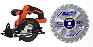 BLACK+DECKER 20V MAX 5-1/2-Inch Cordless Circular Saw, Tool Only with IRWIN Tools MARATHON Carbide Cordless Circular Saw Blade, 5 1/2-Inch, 18T Carded (BDCCS20B & 14011)