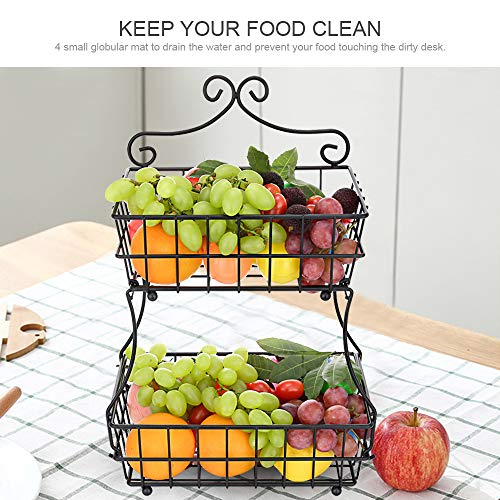 Oakome 2 Tier Fruit Baskets - Metal Bread Basket Stand with Free Screws for Fruit, Vegetables, Snacks, Home Kitchen and Office by oakome (Image #2)