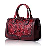 APHISON Designer Hand Bags Unique Embossed Floral Women's Leather Handbags (RED)