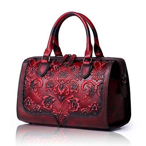 APHISON Designer Hand Bags Unique Embossed Floral Women's Leather Handbags (RED) by APHISON