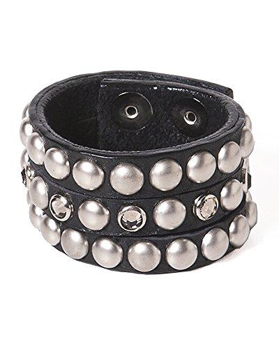 Leatherock Three-strand Bracelet With Pearl Studs and Swarovski Crystals B271