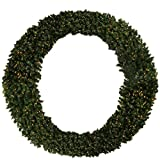 Northlight Seasonal Pre-Lit Deluxe Windsor Pine Commercial Size Artificial Christmas Wreath with Clear Lights, 8'