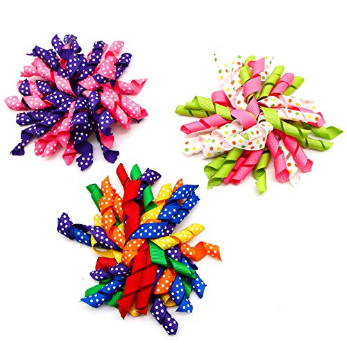 WSSROGY 6 Pcs 4.7 Inch Curly Ribbon Alligator Clip Polka Dot Korker Hair Clips Assorted Color