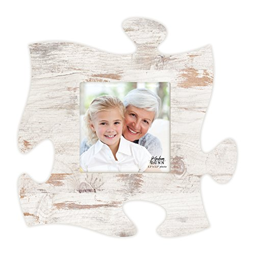 P. GRAHAM DUNN Weathered White Wash 6 x 6 Wood Puzzle Wall Plaque Photo Frame -