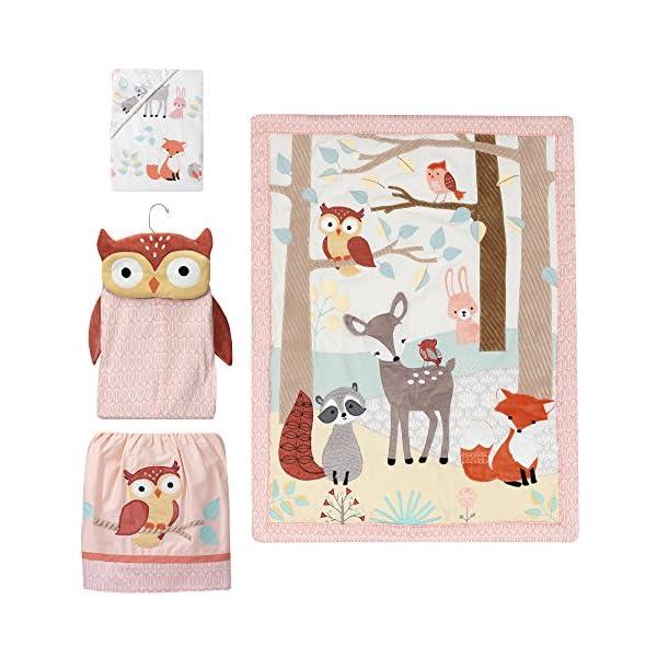 Lambs & Ivy Little Woodland Forest Animals 4 Piece Crib Bedding Set, Pink/White