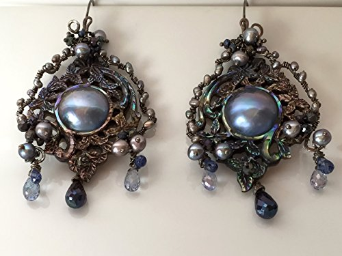 - Carved Paua Abalone Shell & Blue Mabe Pearl Earrings