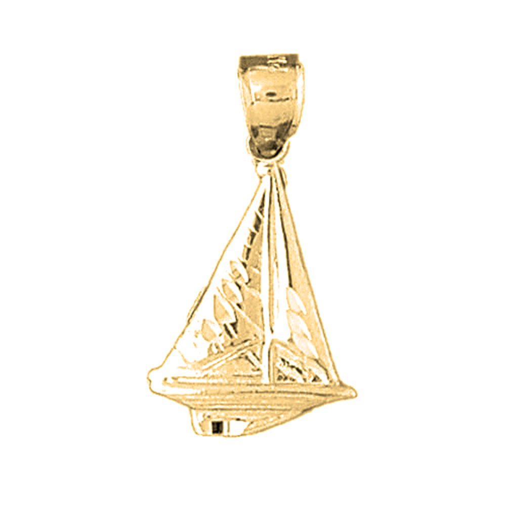 27mm Silver Yellow Plated Sailboat Pendant