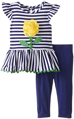 Sweet Heart Rose Baby Girls' Striped Knit Flower Tunic and Legging, Yellow/Navy, 12 Months