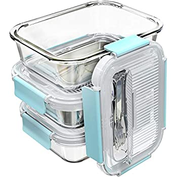 [3-Pack,36 OZ]Large Glass Food Storage Containers with Locking Lids - Bento Box Glass Lunch Containers - Glass Meal Prep Containers - Glass Storage Containers with Lids - Glass Snack Containers