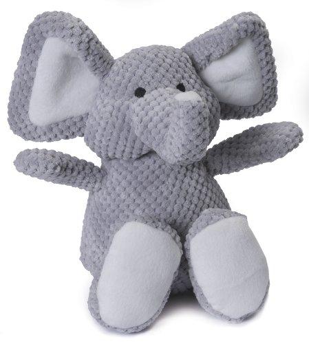 goDog Checkers Elephant With Chew Guard Technology Tough Plush Dog Toy, Grey, (Elephant Plush Dog Toy)