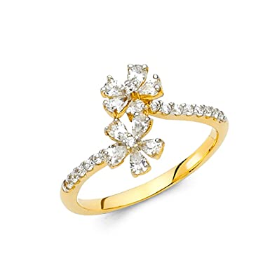 Amazon solid 14k yellow gold flower ring cz two floral band solid 14k yellow gold flower ring cz two floral band right hand style pave curve design mightylinksfo