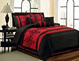 7 Piece King Catherine Flocking Black and Red Comforter Set