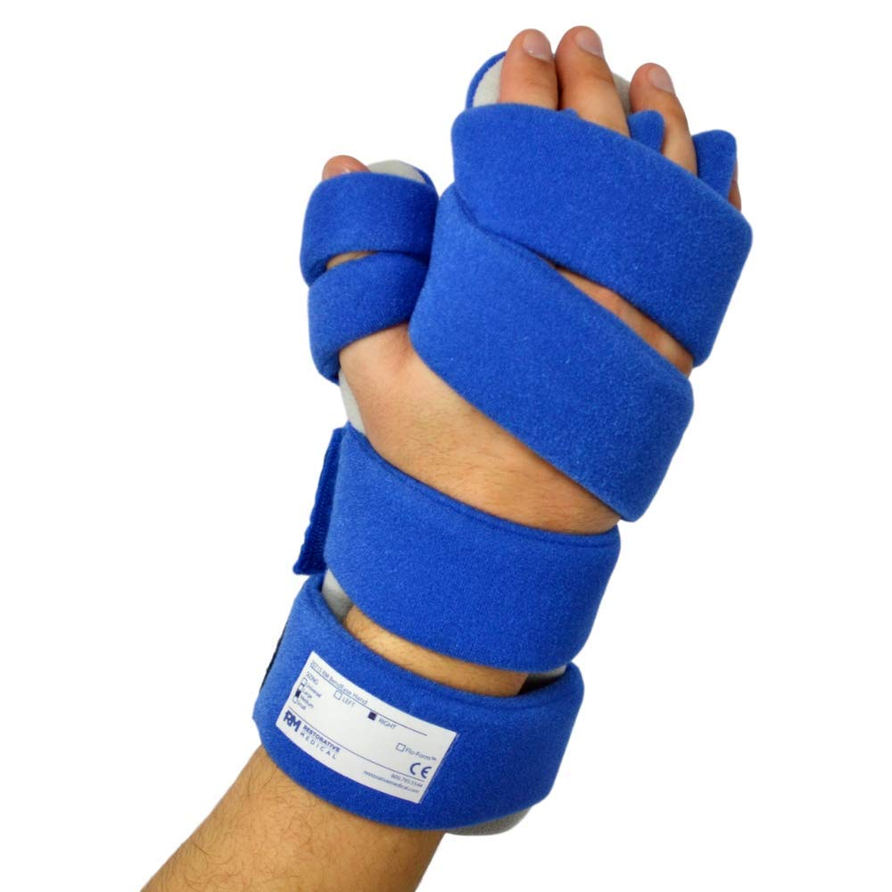 Stroke Hand Brace by Restorative Medical | Functional Resting Hand & Wrist Night Splint - Corrective, Supportive Brace for Correction, Comfort & Pain Relief (Small - Right w/Finger Separators)